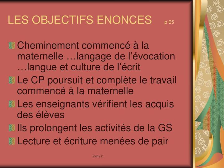 Les objectifs enonces p 65