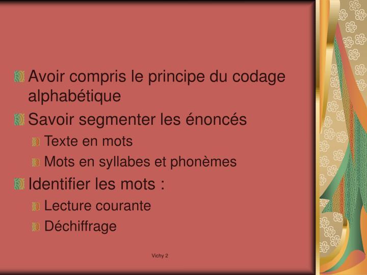 Avoir compris le principe du codage alphabétique