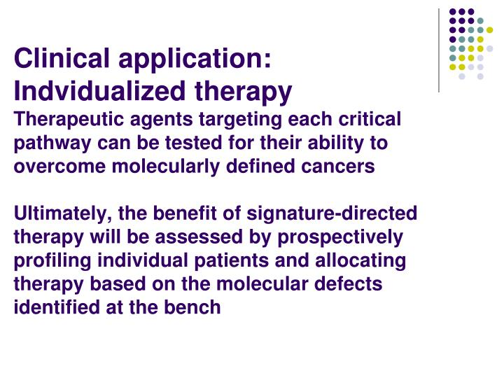 Clinical application:  Indvidualized therapy