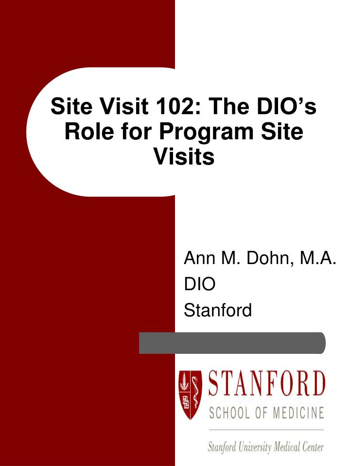 site visit 102 the dio s role for program site visits n.