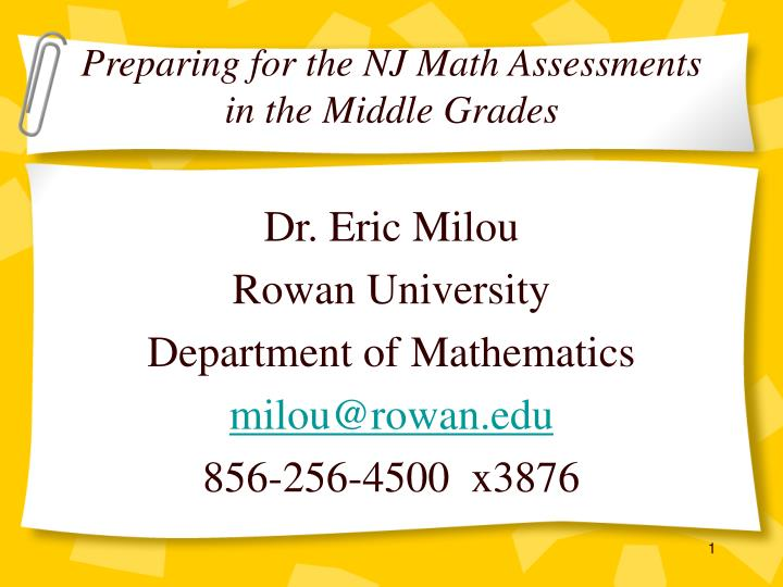 preparing for the nj math assessments in the middle grades n.