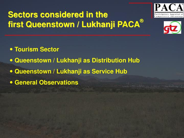 Sectors considered in the