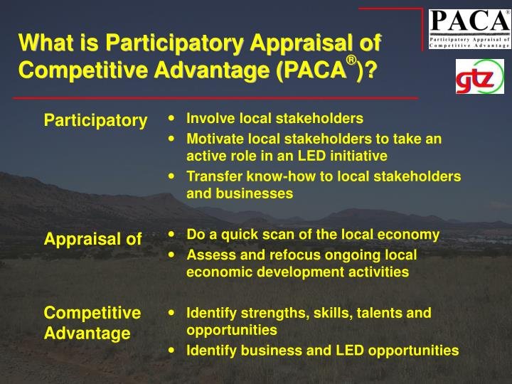What is participatory appraisal of competitive advantage paca