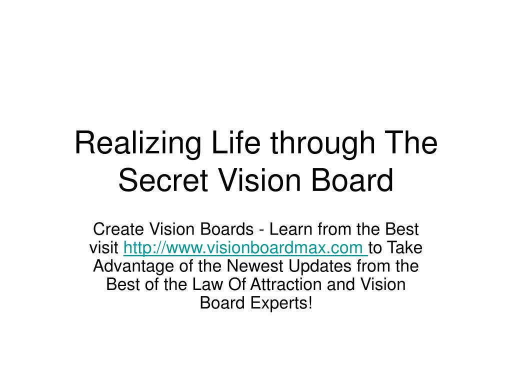 realizing life through the secret vision board l.