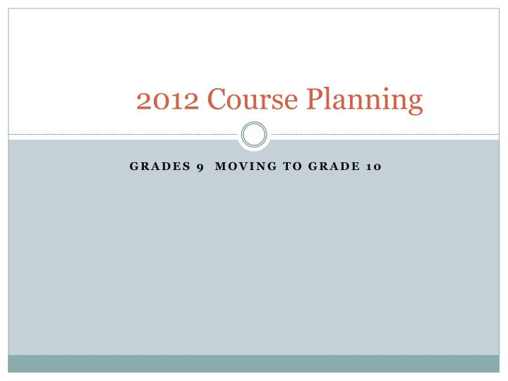 2012 course planning n.