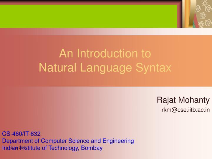 an introduction to natural language syntax n.