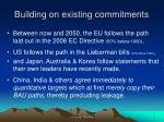 building on existing commitments