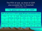 the pdv of cost as share of gdp also exceeds the 1 threshold discount rate 5