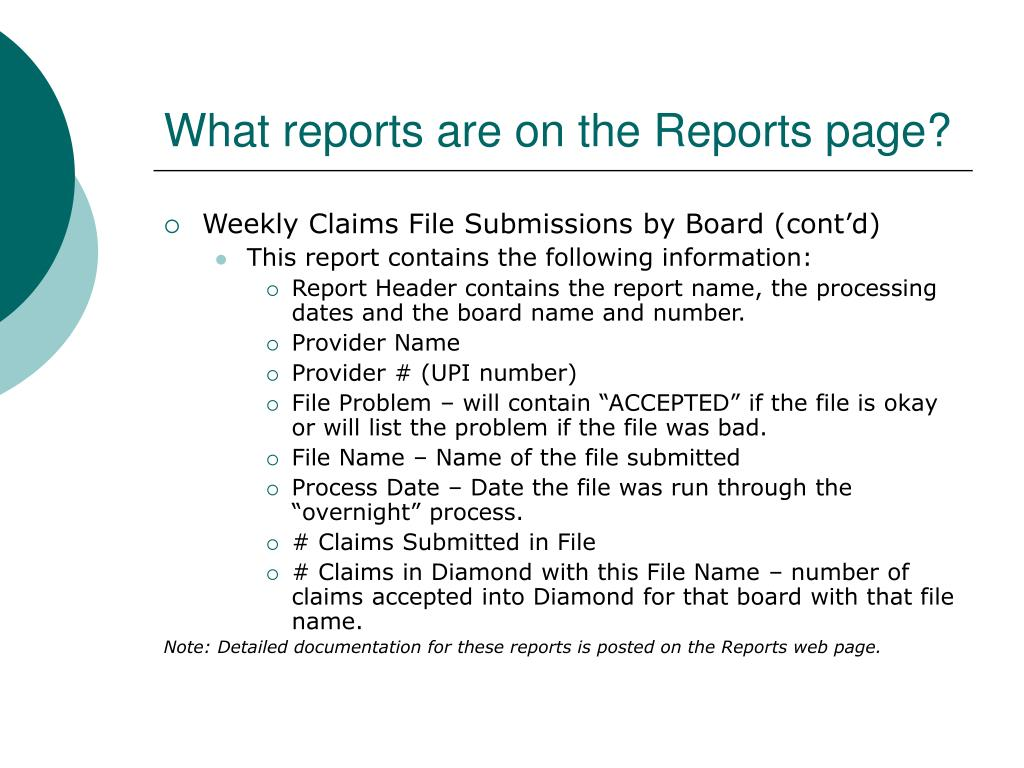 What reports are on the Reports page?