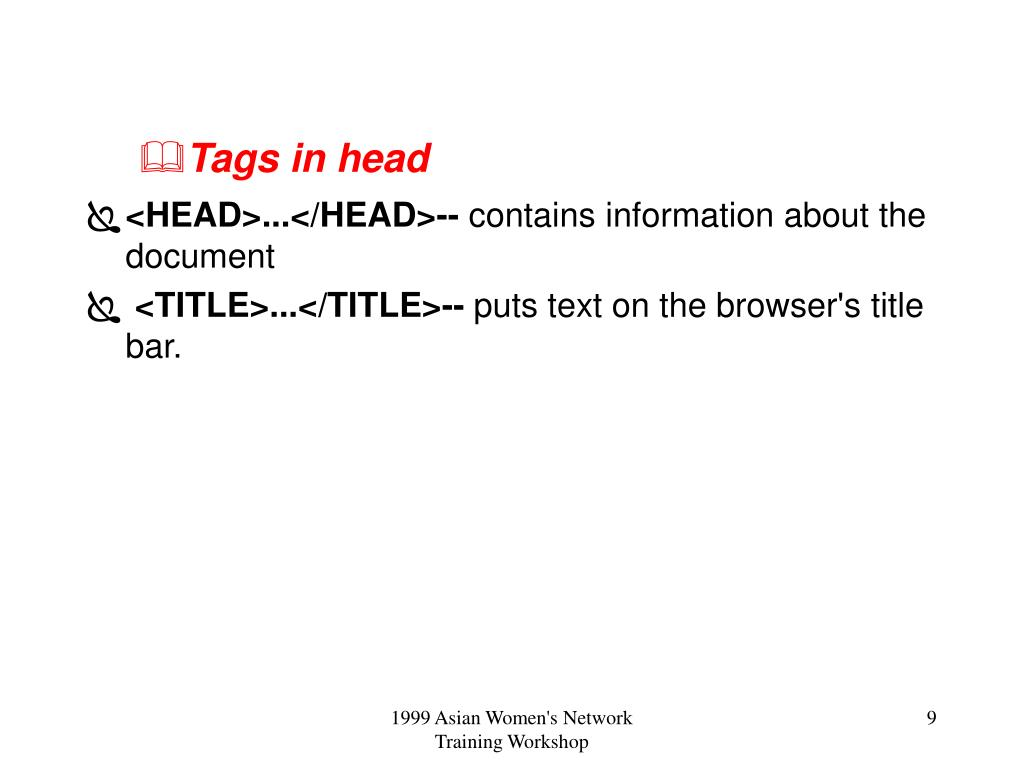Tags in head