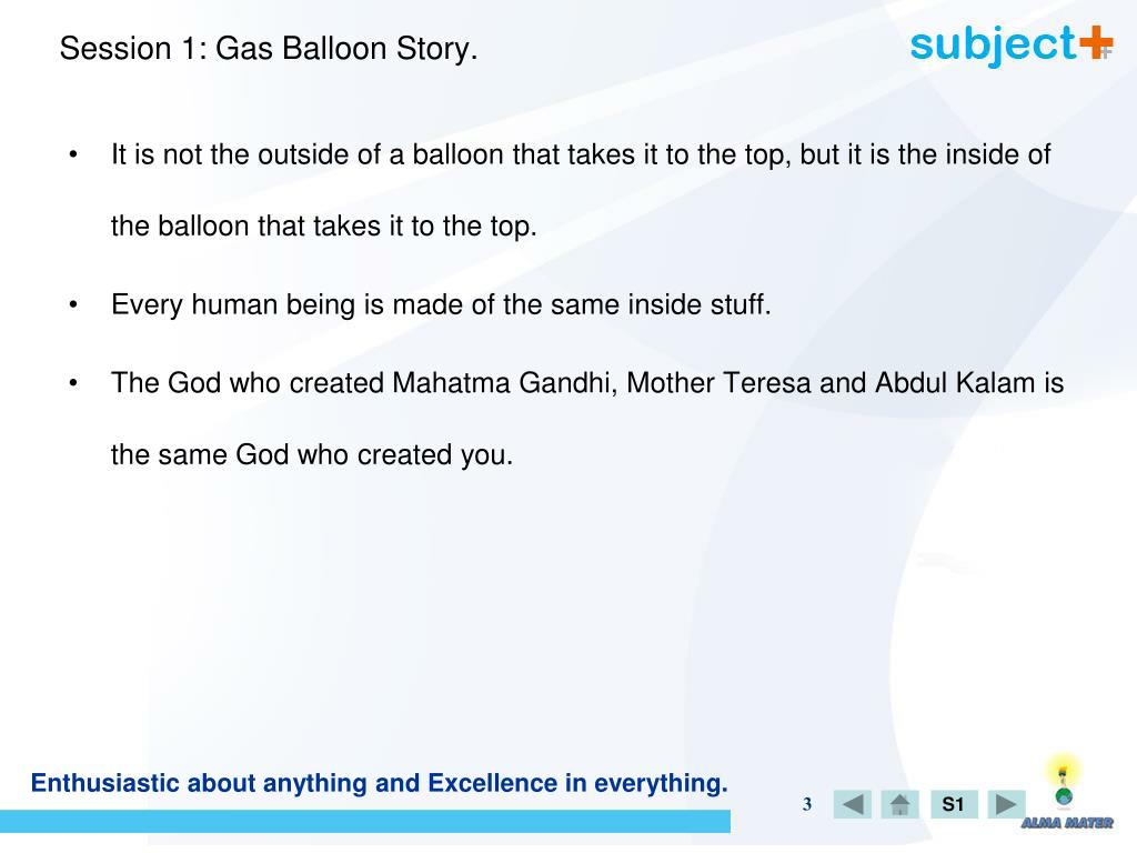 Session 1: Gas Balloon Story.