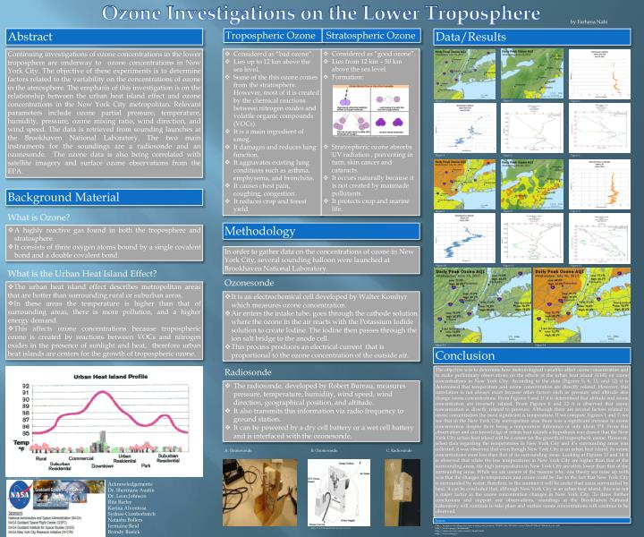 Ozone Investigations on the Lower Troposphere