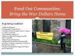fund out communities bring the war dollars home