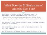 what does the militarization of america cost you55