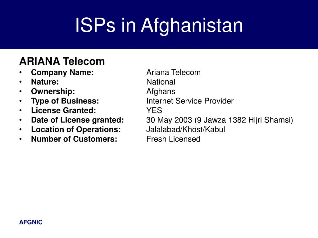 ISPs in Afghanistan