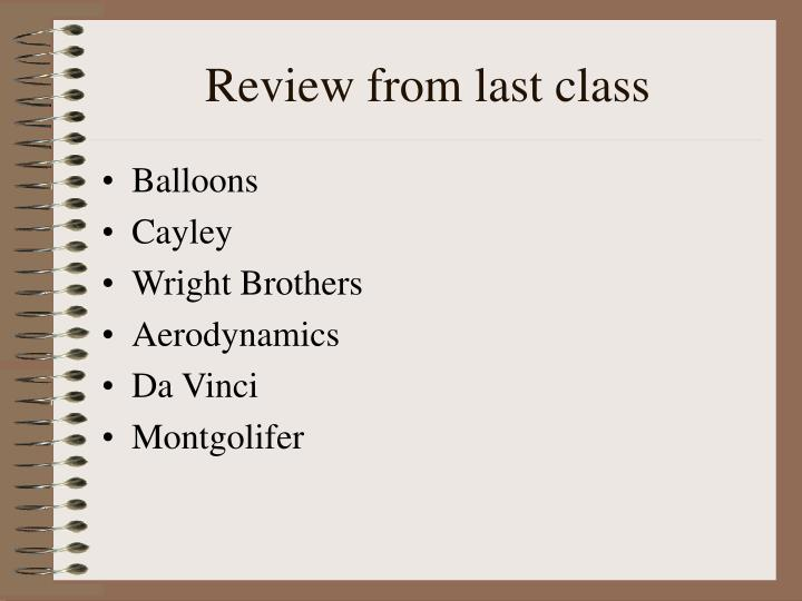 Review from last class