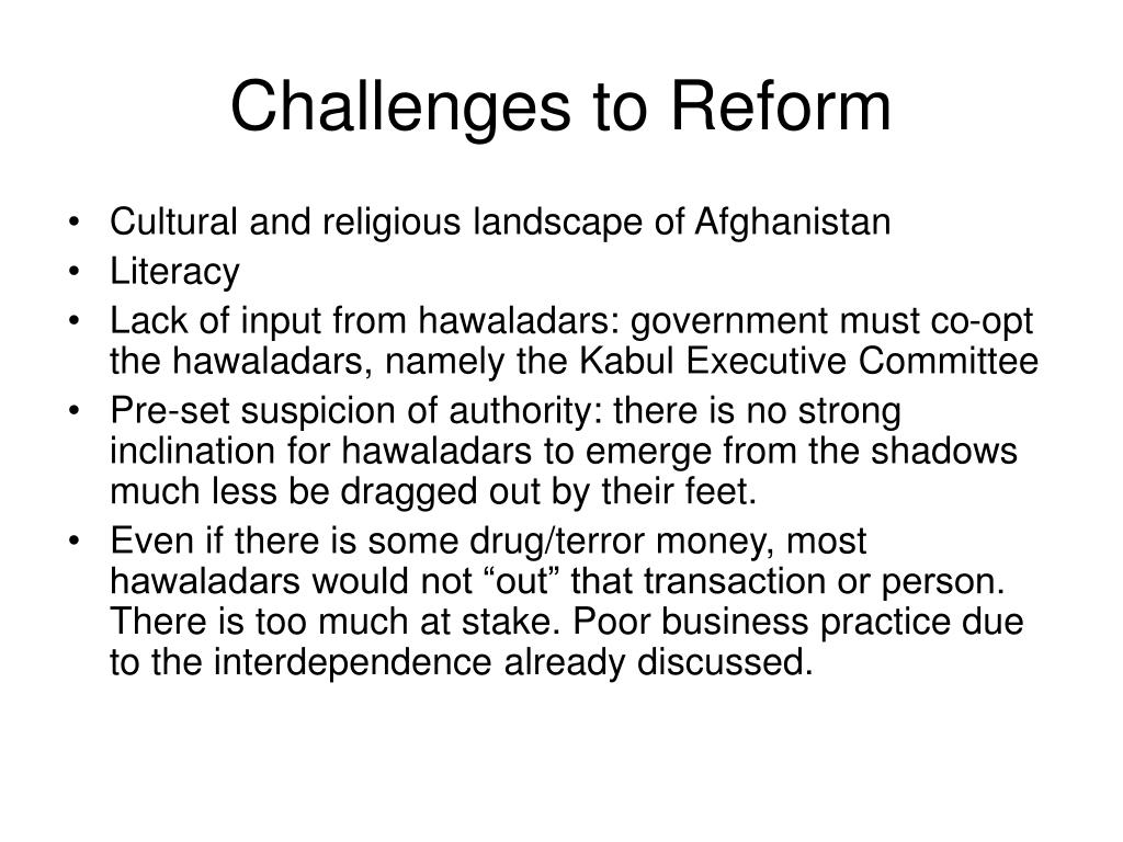 Challenges to Reform