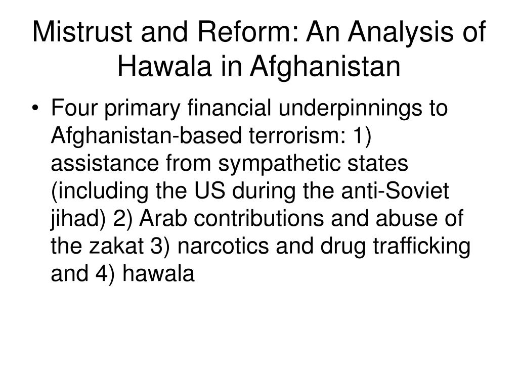 Mistrust and Reform: An Analysis of Hawala in Afghanistan