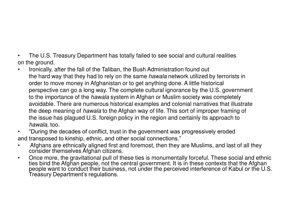 The U.S. Treasury Department has totally failed to see social and cultural realities