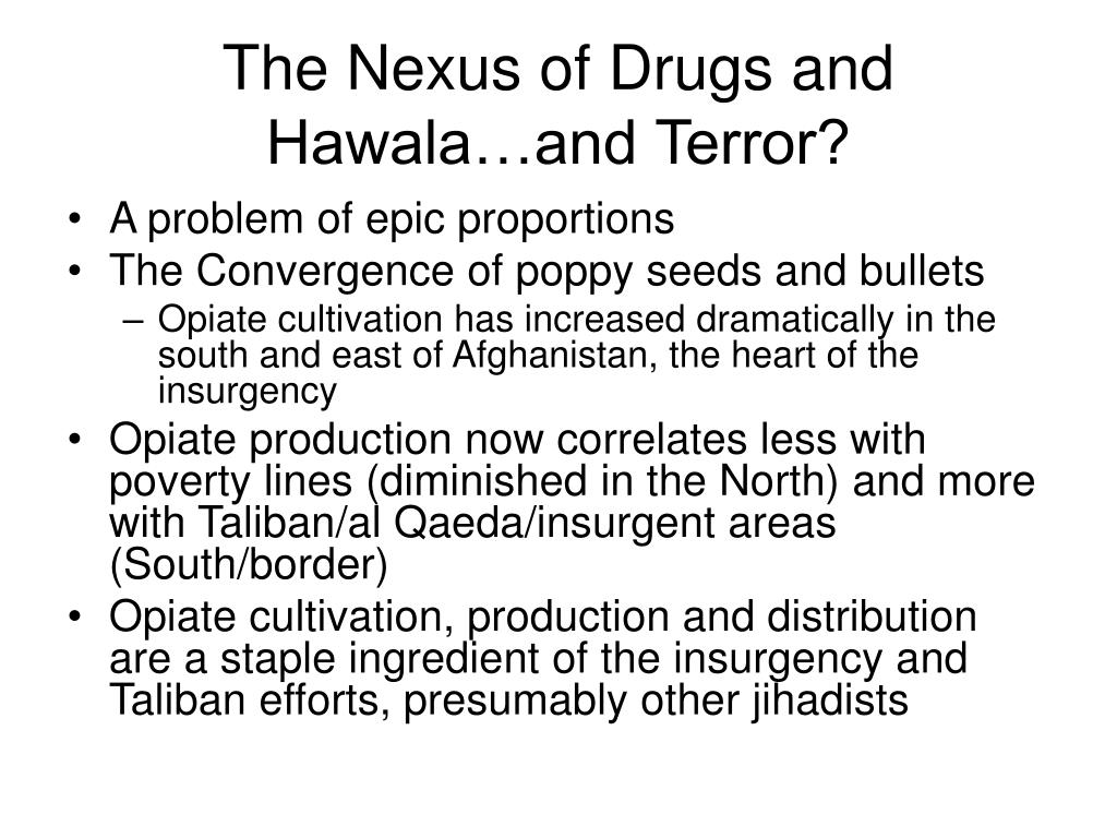 The Nexus of Drugs and Hawala…and Terror?
