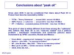 conclusions about peak oil