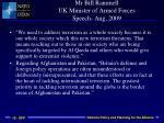 mr bill rammell uk minister of armed forces speech aug 2009