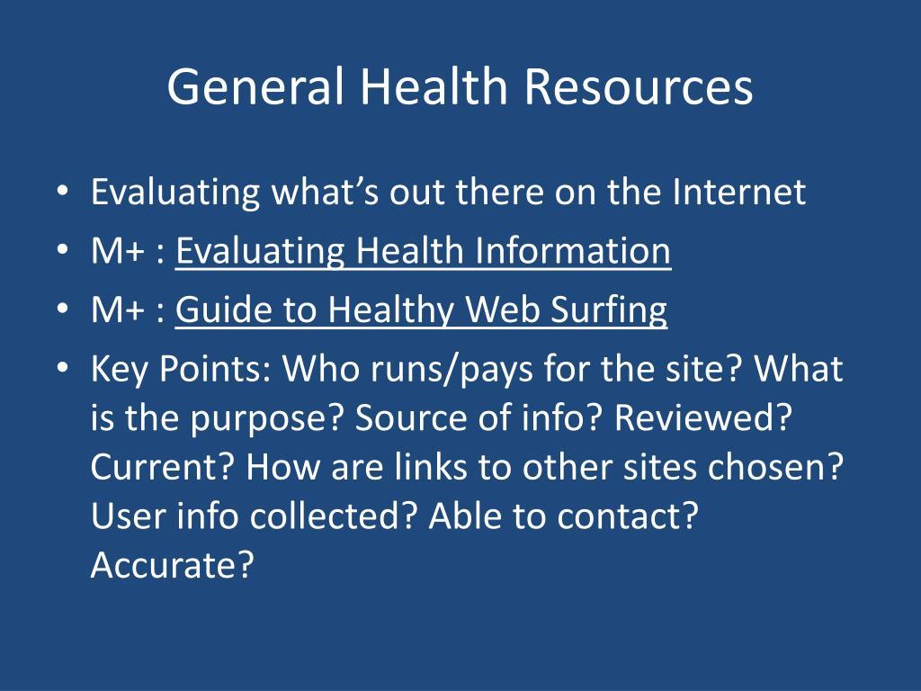 General Health Resources