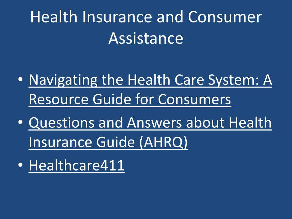 Health Insurance and Consumer Assistance