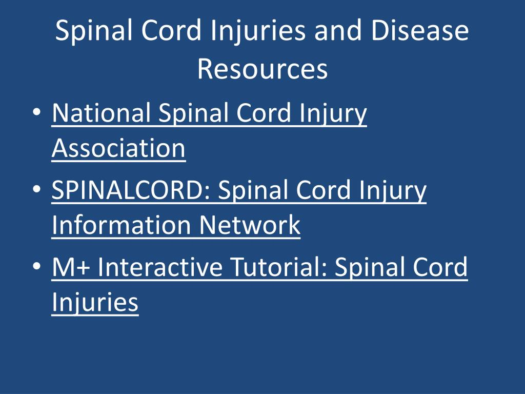 Spinal Cord Injuries and Disease Resources