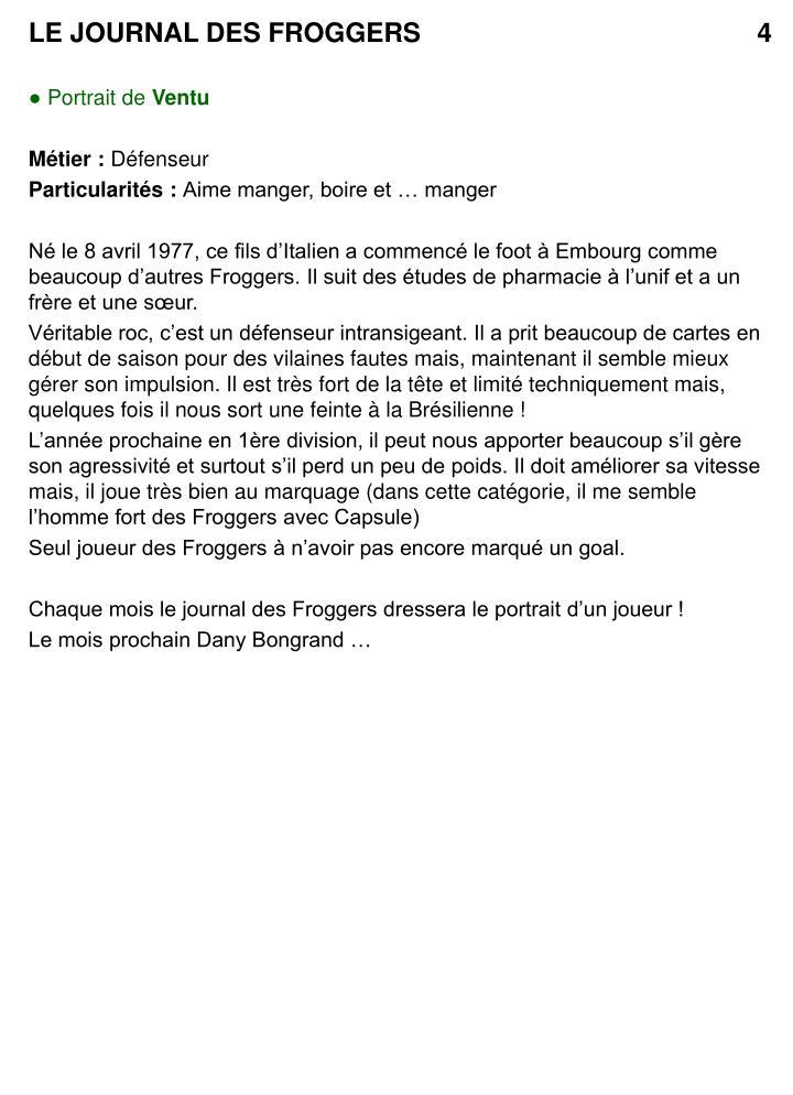 LE JOURNAL DES FROGGERS