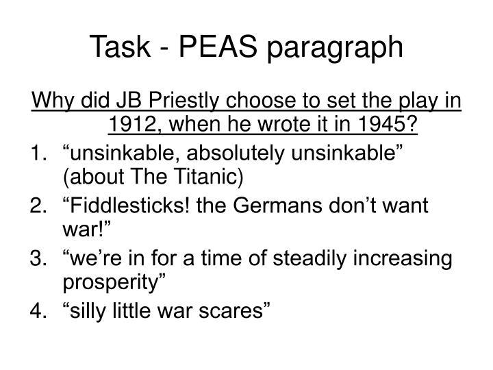 Task - PEAS paragraph