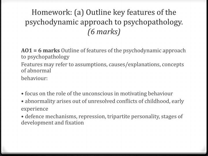 key features of psychodynamic approach