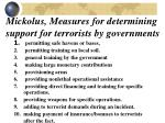 mickolus measures for determining support for terrorists by governments