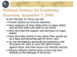 national strategy for combating terrorism september 5 2006