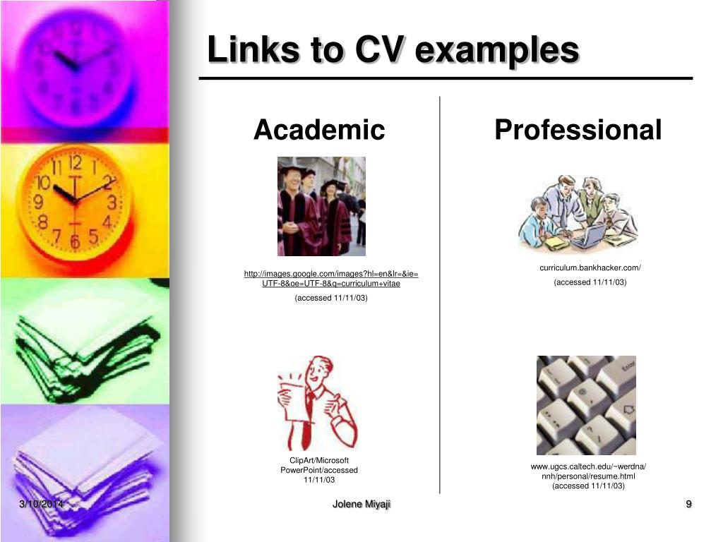 Links to CV examples