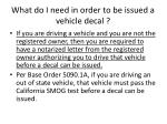 what do i need in order to be issued a vehicle decal72