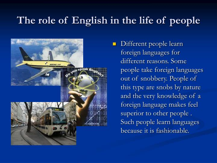 the role of english in the life of people n.