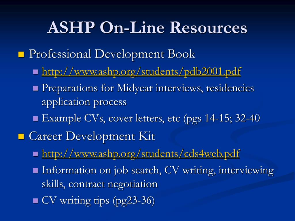 ASHP On-Line Resources