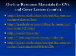 on line resource materials for cvs and cover letters cont d
