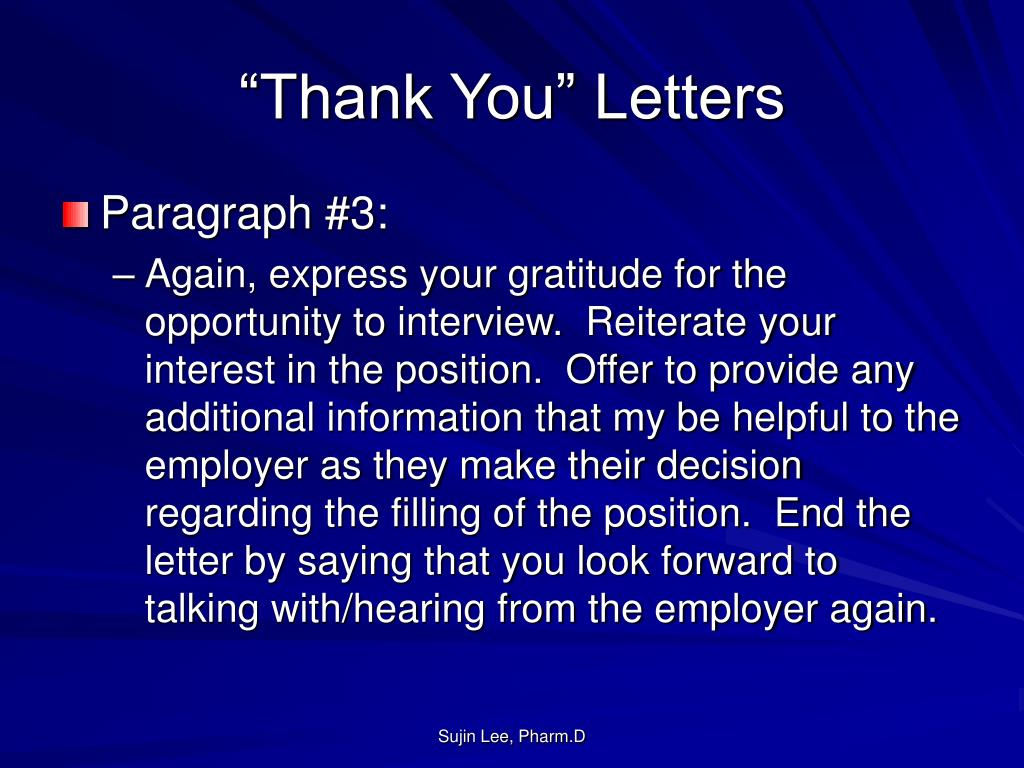 """""""Thank You"""" Letters"""