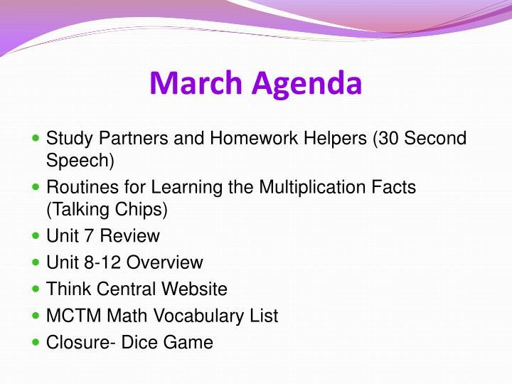 March agenda