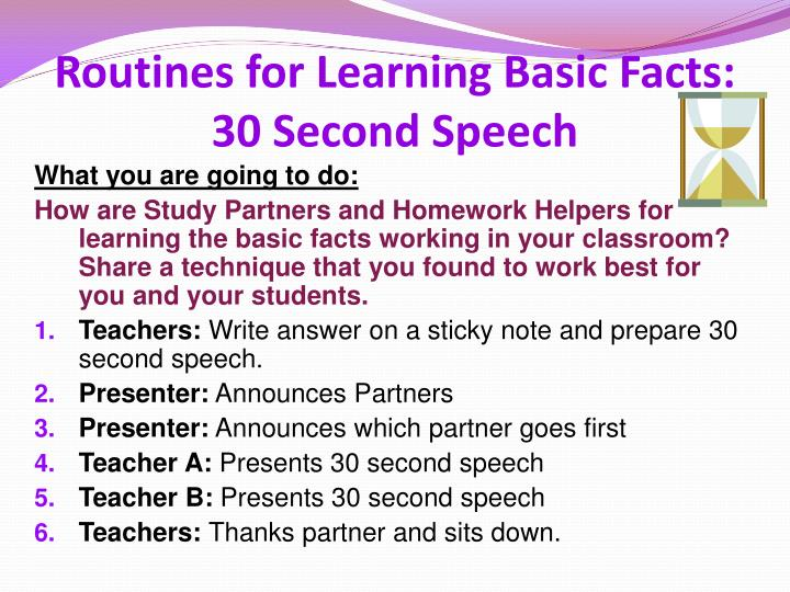 Routines for learning basic facts 30 second speech
