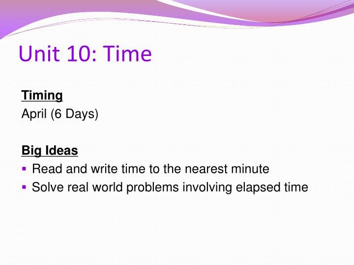 Unit 10: Time