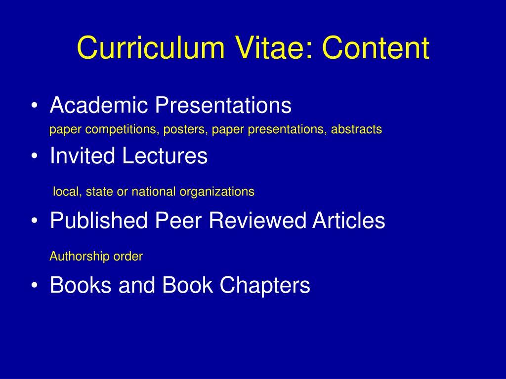 Curriculum Vitae: Content