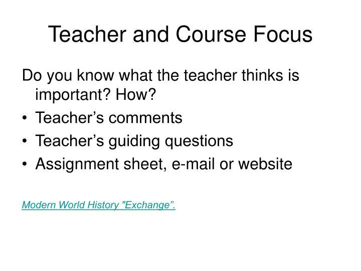 Teacher and Course Focus