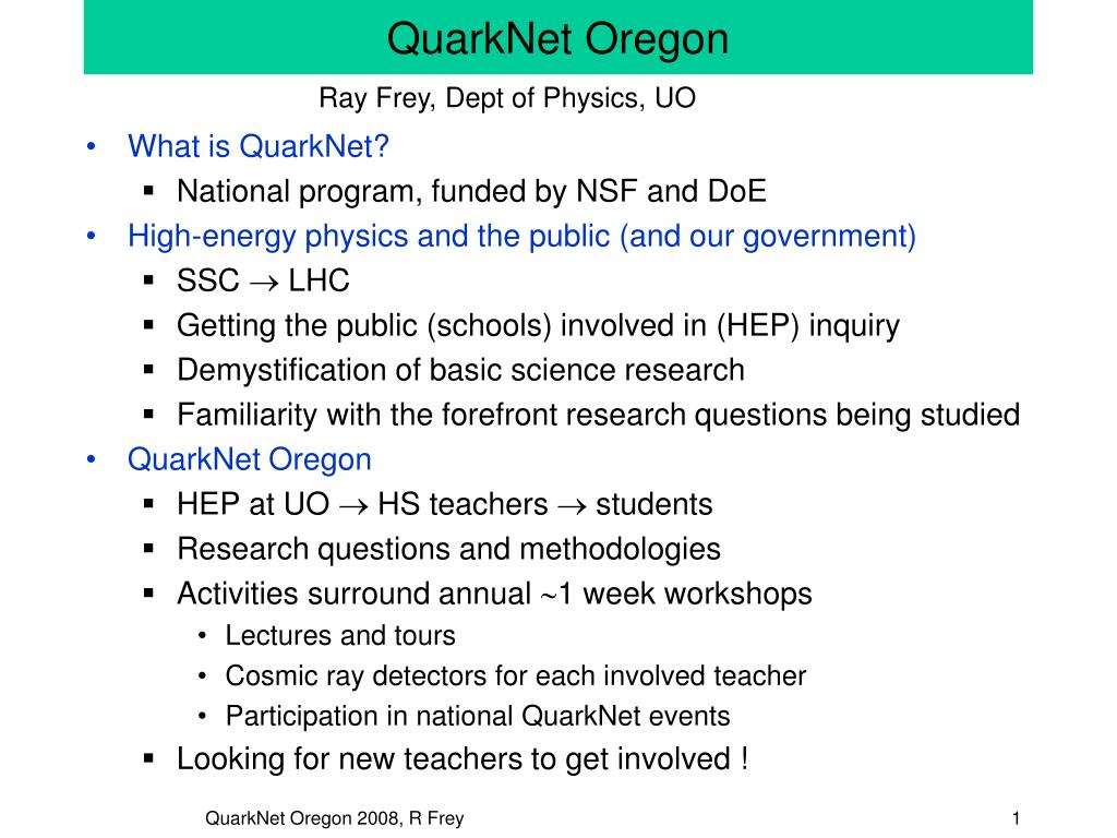 quarknet oregon l.