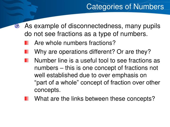 Categories of Numbers
