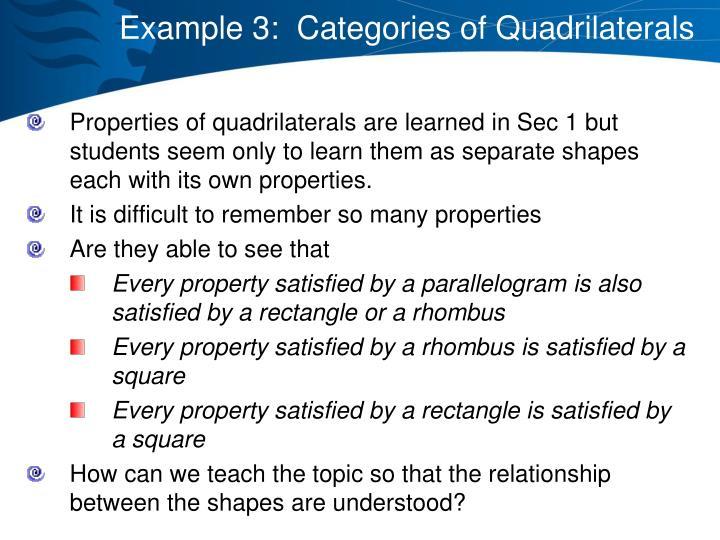 Example 3:  Categories of Quadrilaterals