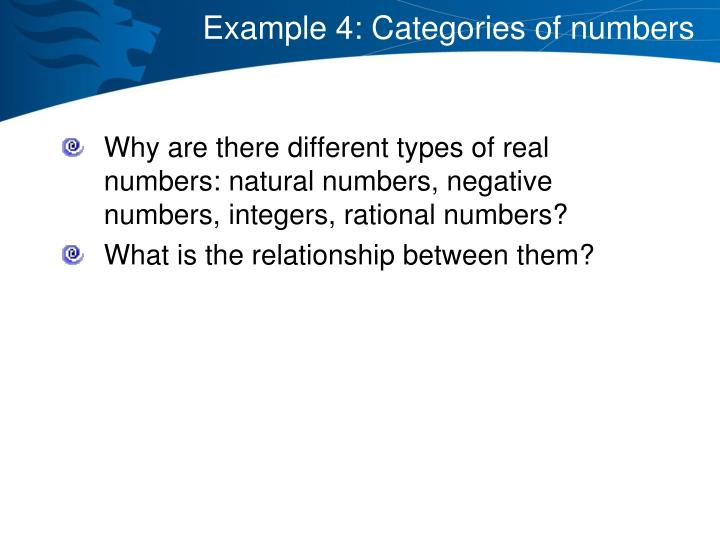 Example 4: Categories of numbers