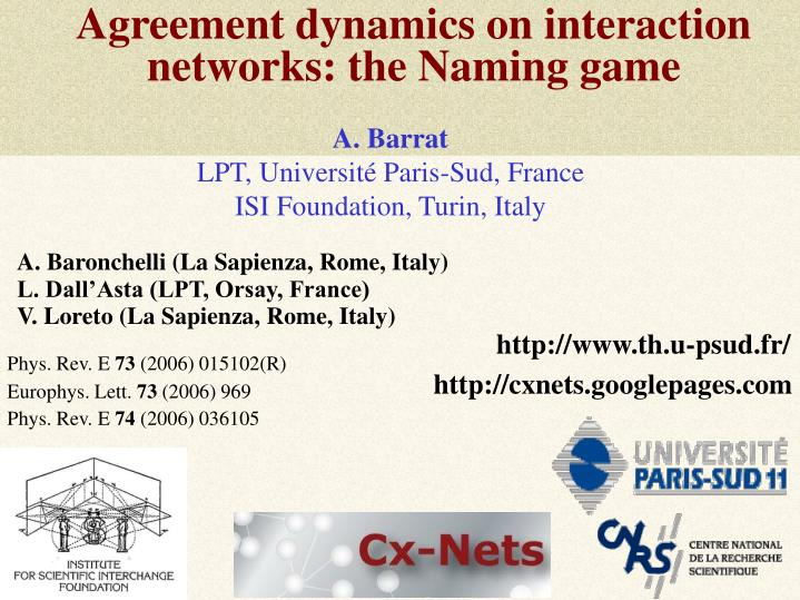 Agreement dynamics on interaction networks the naming game